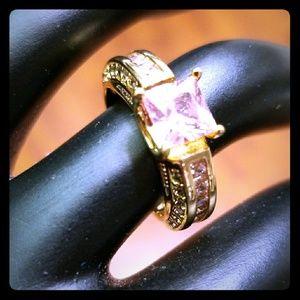 10 Karat Gold Filled Ring, Pink CZ Center Stone